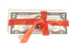 Gift of dollars Royalty Free Stock Photos