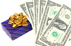 Gift with dollars Royalty Free Stock Photos