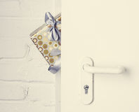 Gift at the door Stock Photography