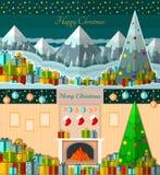 Gift-dozen op sneeuw met de bomenachtergrond van de winterbergen en gift-dozen dichtbij open haard twee nieuwe jaarkaarten als ac Stock Foto