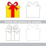 Gift. Drawing worksheet. Stock Photo