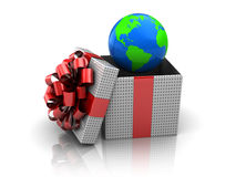 Gift with earth globe Stock Image