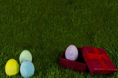 Easter eggs gift royalty free stock image