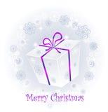 Gift in een doos met een boog op een achtergrond van snowfl Stock Foto's