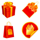 Gift elements. Set of 4 gift elements, isolated on white background Stock Images