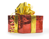 Gift with ellow ribbon isolated over white Stock Image