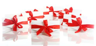Gift envelope with awesome red bow Royalty Free Stock Photo