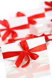Gift envelope with awesome red bow Royalty Free Stock Photos