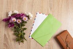 Gift envelope flowers stock photo