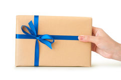 Gift environmentally friendly packaging in hand Royalty Free Stock Images