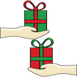 Gift exchange Stock Images