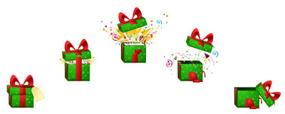 Gift Explode. Celebration cartoon design element set, exploding gift box,  vector Stock Images