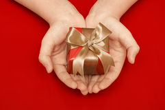 Gift in a female hand Stock Photography