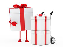 Gift figure hand truck. Christmas red gift figure show hand truck Stock Images