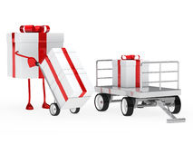 Gift figure pull hand truck Stock Photos