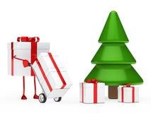 Gift figure push hand truck. Christmas gift figure red push hand truck Royalty Free Stock Photo