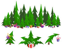 Gift Firs. Celebration cartoon design element set, fir trees with gifts,  vector Stock Photos
