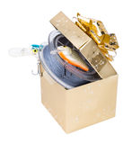 Gift fishing tackles in square box of gold color with bow Royalty Free Stock Images