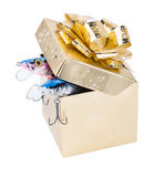 Gift fishing tackles in square box of gold color with bow Stock Photo