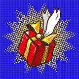 Gift floating, holidays present pop art vector Stock Photos