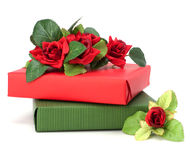 Gift with floral decor Royalty Free Stock Photo