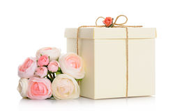 Gift with floral decoration Stock Photo