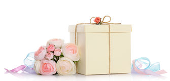 Gift with floral decoration Stock Photos