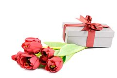 Gift with  flowers Stock Photography