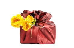 Gift with  flowers Royalty Free Stock Images