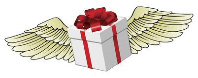 Gift flying with feathered wings Stock Photo