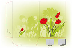 Gift folder with tulips flowers Royalty Free Stock Photography