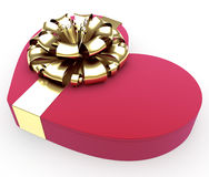 Gift in form heart with a ribbon. On white background Royalty Free Stock Photos