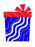 A gift in the form of a rectangular box is blue with a red bow Royalty Free Stock Photography