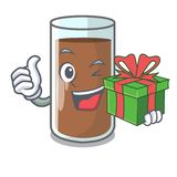 With gift fresh chocolate splash on pouring mascot. Vector illustration stock illustration