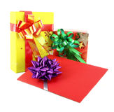Gift and gift card. On white background Royalty Free Stock Image