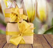 Gift. Christmas gold holiday birthday christmas present backgrounds Royalty Free Stock Images