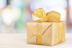 Gift. Christmas gold holiday birthday christmas present backgrounds Stock Photos