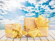 Gift. Christmas gold holiday birthday christmas present backgrounds Stock Photo