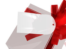 Gift with gift tag. Computer generated image of a gift with blank gift tag stock illustration