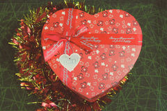 Gift. S, box ,ribbon ,heart ,red ,green ,background ,cerebrate ,donations ,loof Royalty Free Stock Image