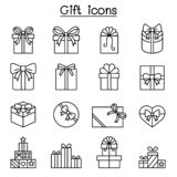 Gift, Giftware, Gift box, Present icon set in thin line style royalty free illustration