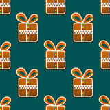 Gift gingerbread seamless pattern Royalty Free Stock Images