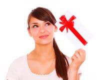 Gift girl. Holding gift card bonus female smiling Stock Photography