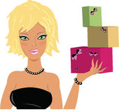 Gift girl. Image of blond girl with gift boxes Royalty Free Stock Image