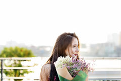 Gift Girl Happiness Leisure Calm Bouquet Relax Concept Stock Photography