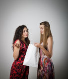 Gift. Girl is not satisfied with the present she got from someone stock images