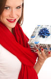 Gift Giving Attractive Woman Celebrates Christmas Stock Photos