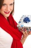 Gift Giving Attractive Woman Celebrates Christmas stock photos