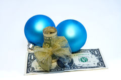 Gift of Giving - Concept - Money w/Bow/Decorations Stock Photo