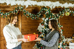 Gift giving in the family Stock Photos